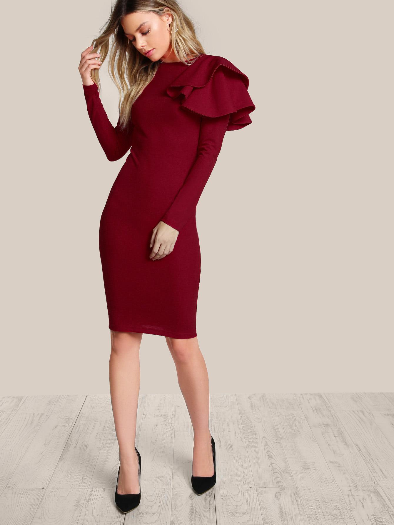 One Side Tiered Ruffle Trim Dress tiered layer ruffle jacket