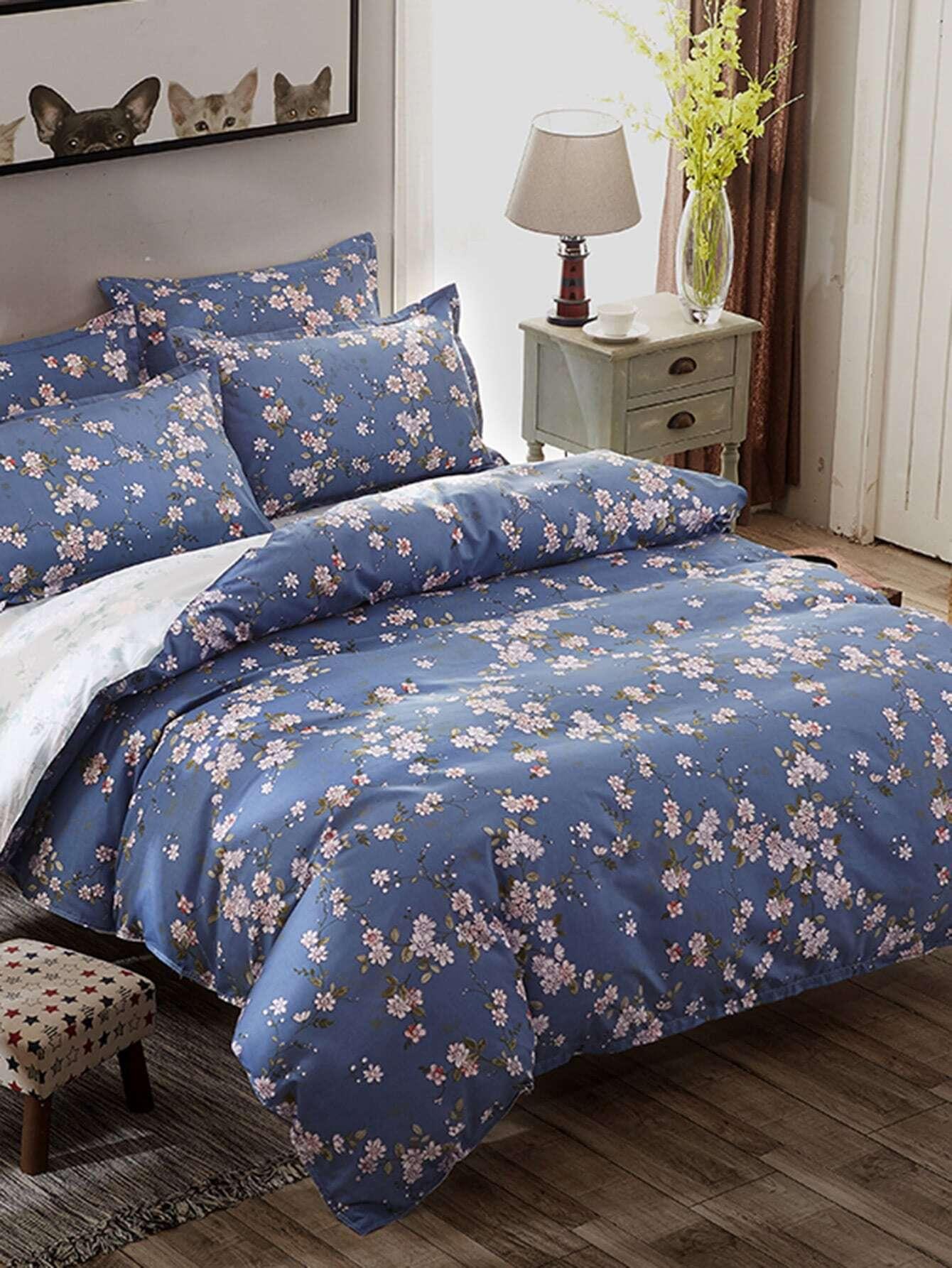 1.2m 4Pcs Flower Print Duvet Cover Set