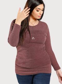 Ribbed Detail Long Sleeve Dress MAUVE