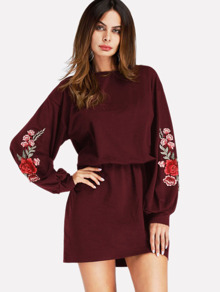Embroidered Applique Drop Shoulder Dress