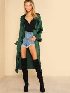 Trumpet Sleeve Belted Waterfall Duster Coat