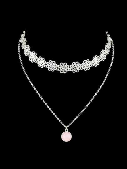 Silver Hollow Out Flower Shape Choker With Pink Stone Charm Necklace