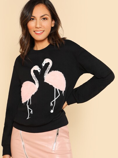 Faux Fur Flamingo Sweatshirt