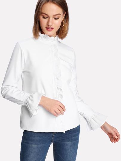 Flounce Sleeve Ruffle Shirt