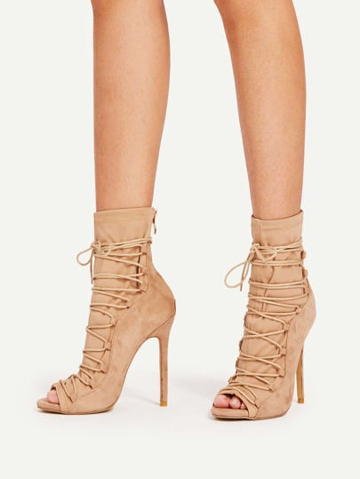 Peep Toe Lace Up High Heels