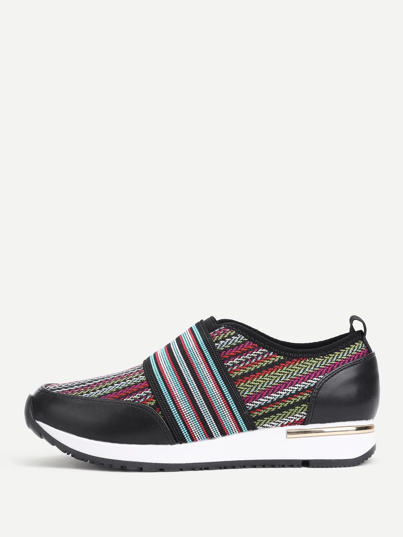 Striped Detail Woven Design Sneakers striped woven tape detail two tone sweatshirt