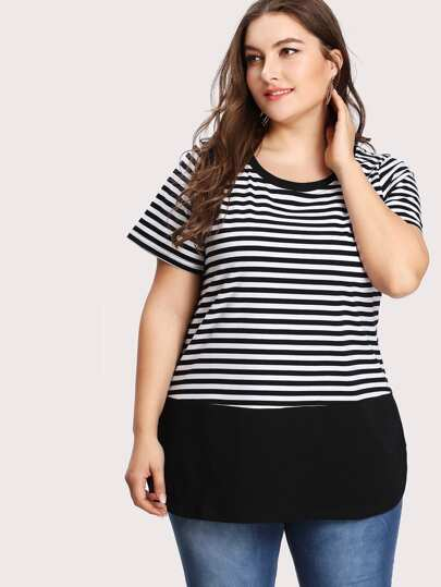 Striped Curved Hem Ringer Tee