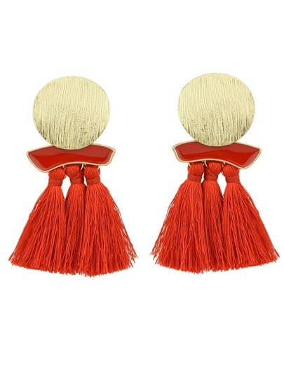 Red Boho Earrings Round Metal With Colorful Handmade Tassel Drop Earrings