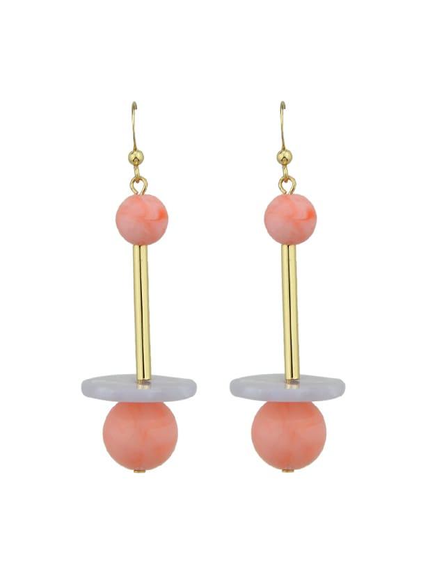 Pink Beads And Long Metal Dangle Earrings For Women цена и фото