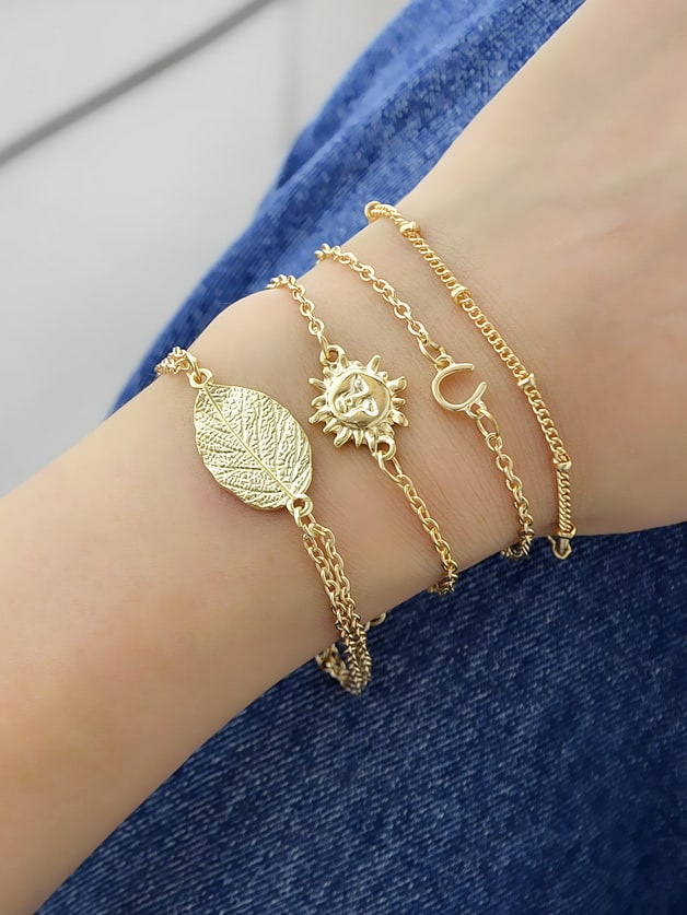 4 Pcs/Set Tibetan Jewelry Boho Style Gold-Color Chain Bracelets