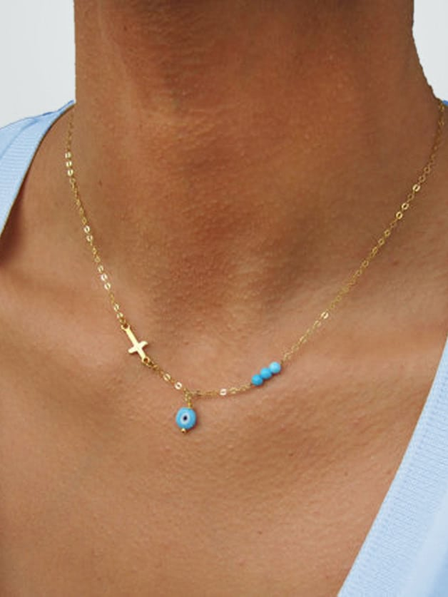Gold Necklace For Women Boho Chic Jewelry chic black gemstones jewelry set for women