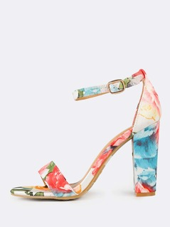 Floral Ankle Strap Chunky Heels MULTI