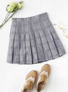 Checked Pleated Zip Up Side Skirt