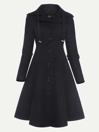 Single Breasted Drawstring Skater Coat