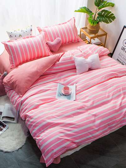 2.0m 4Pcs Contrast Striped Print Bedding Set