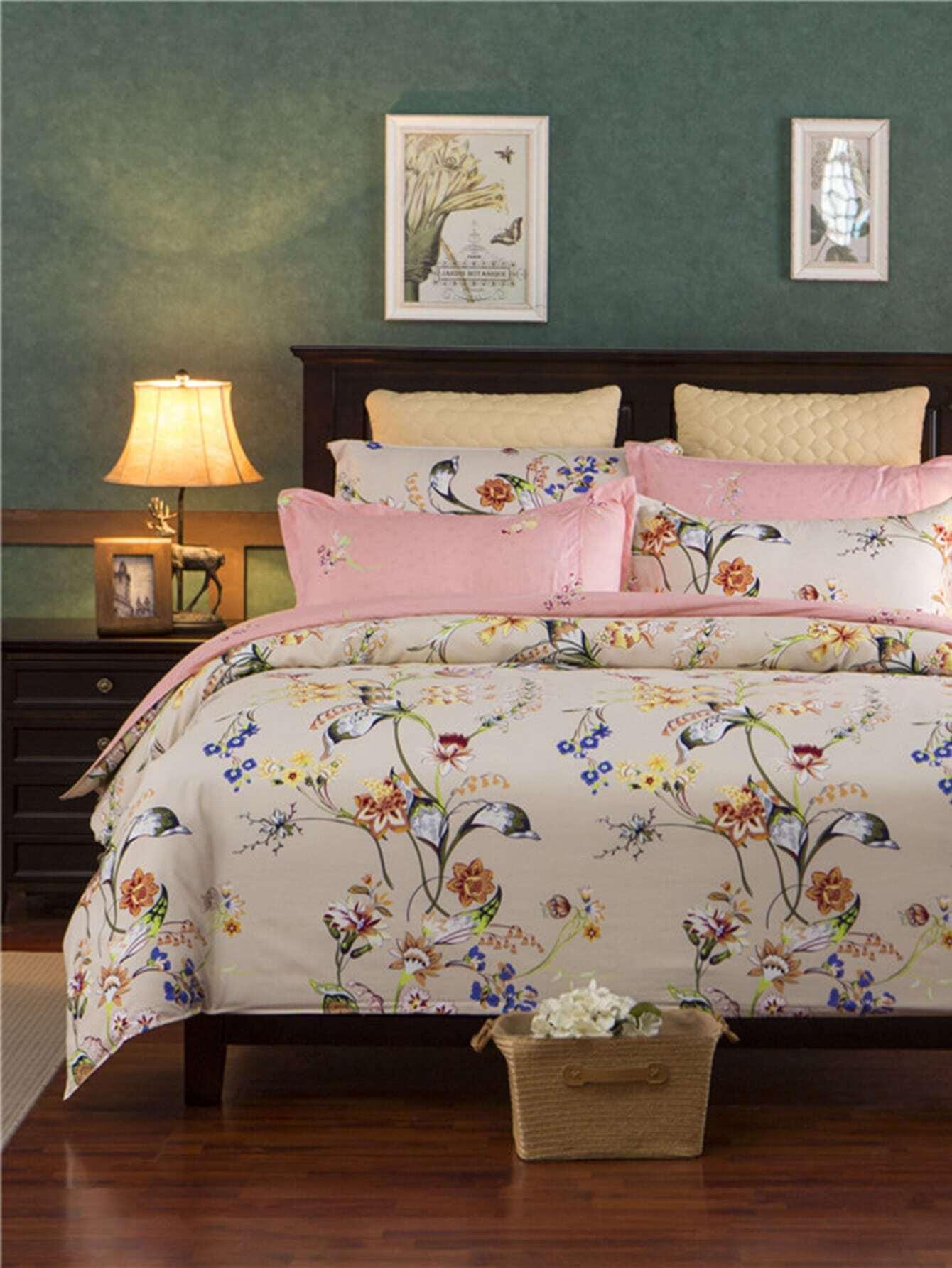 1.8m 4Pcs Flower Print Duvet Cover Set