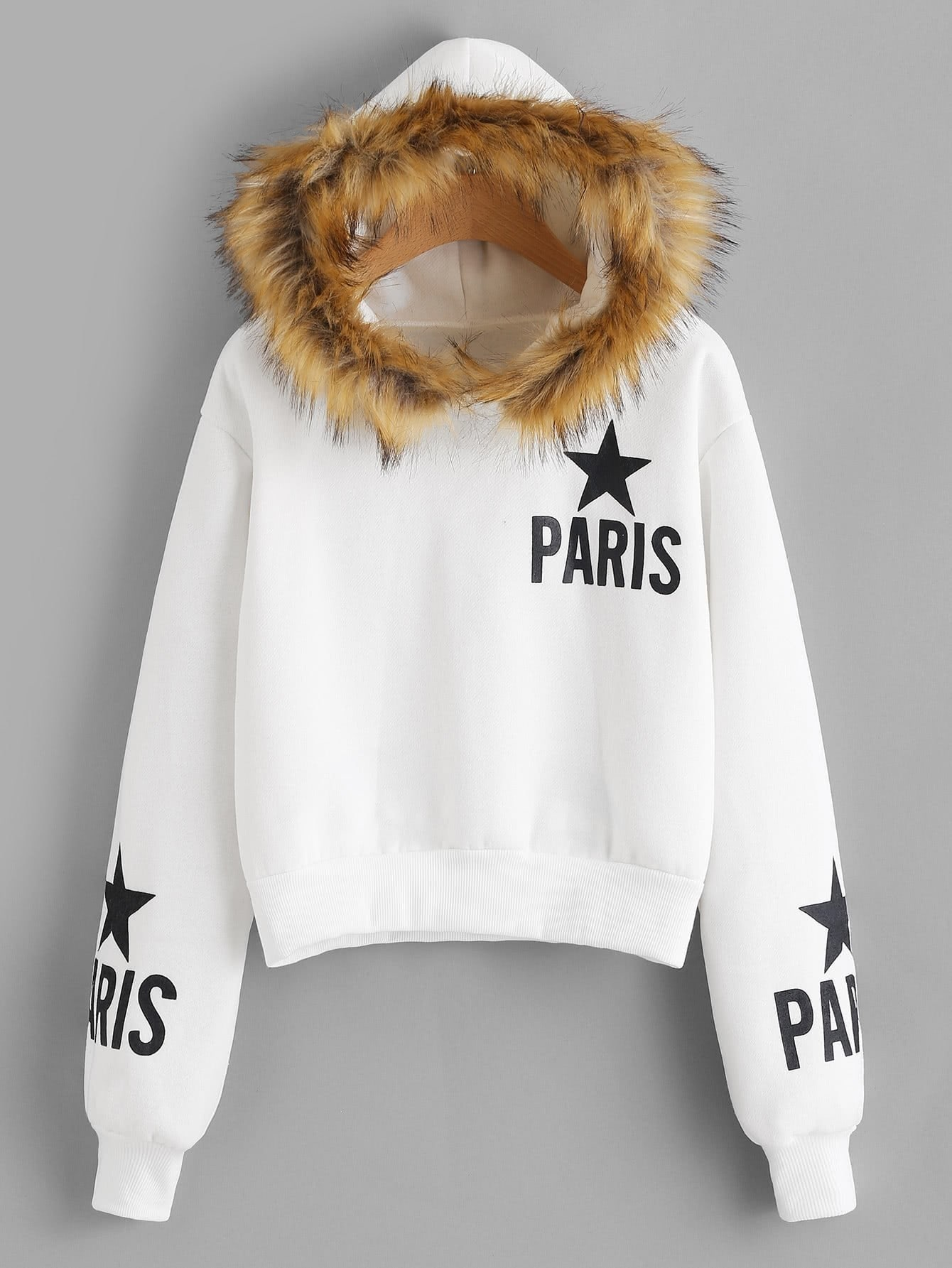 Faux Fur Trim Letter Print Hoodie letter print raglan hoodie