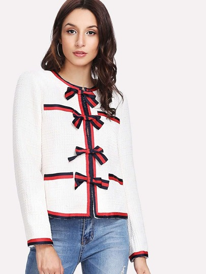 Bow Front Striped Trim Blazer