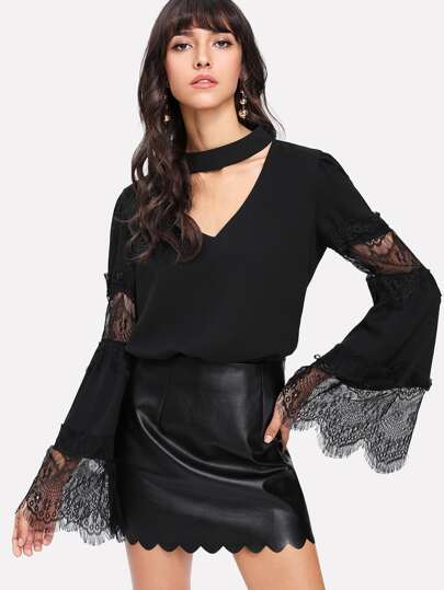 Lace Insert Trumpet Sleeve Choker Neck Top