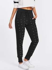 Studded Detail Drawstring Sweatpants