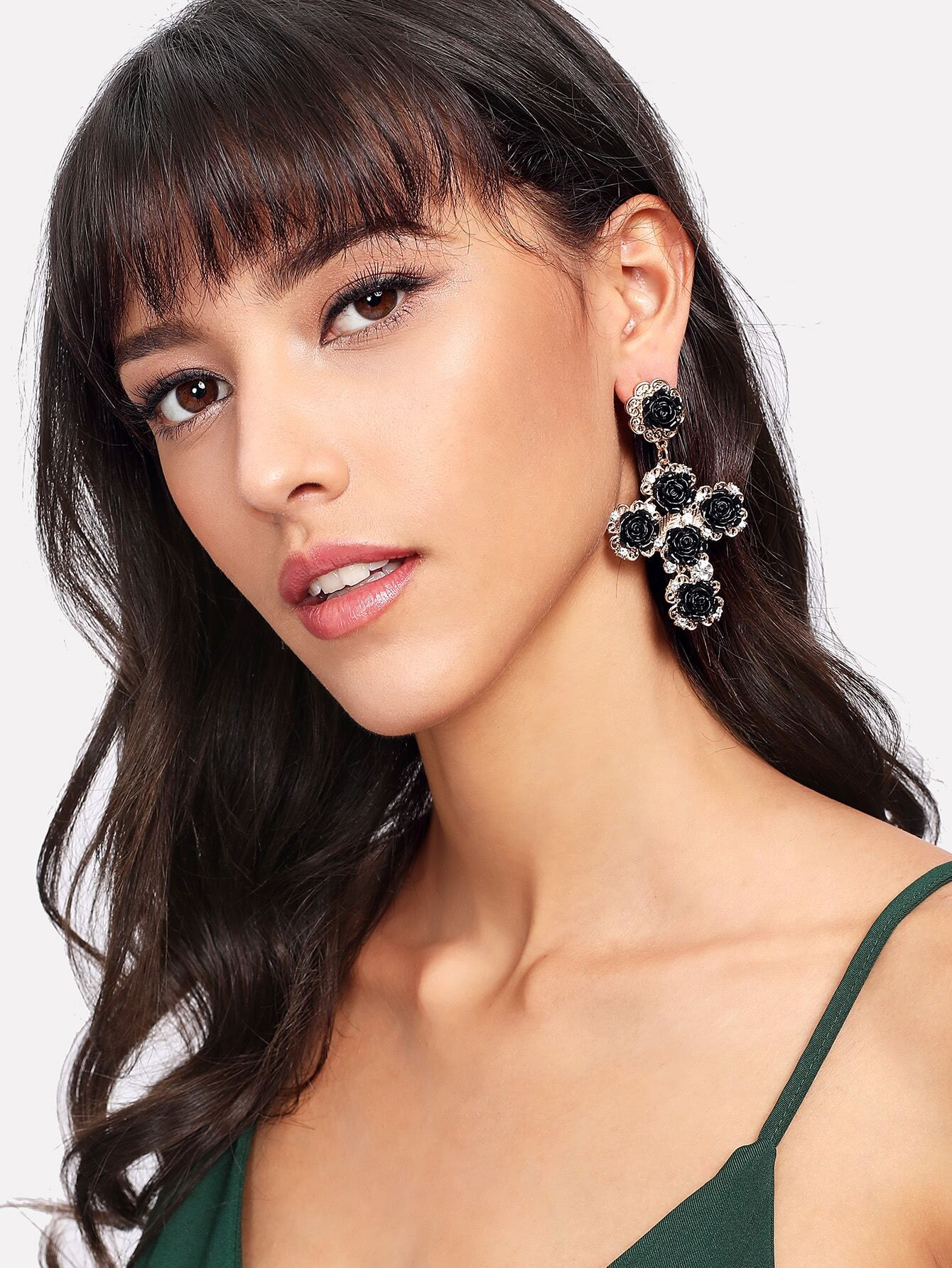 Contrast Flower Design Drop Earrings