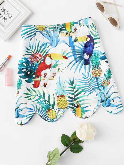 Bird Print Scallop Hem Zip Up Side Skirt