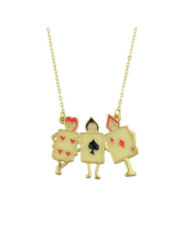 Enamel Playing Cards Figure Shape Pendant Necklace