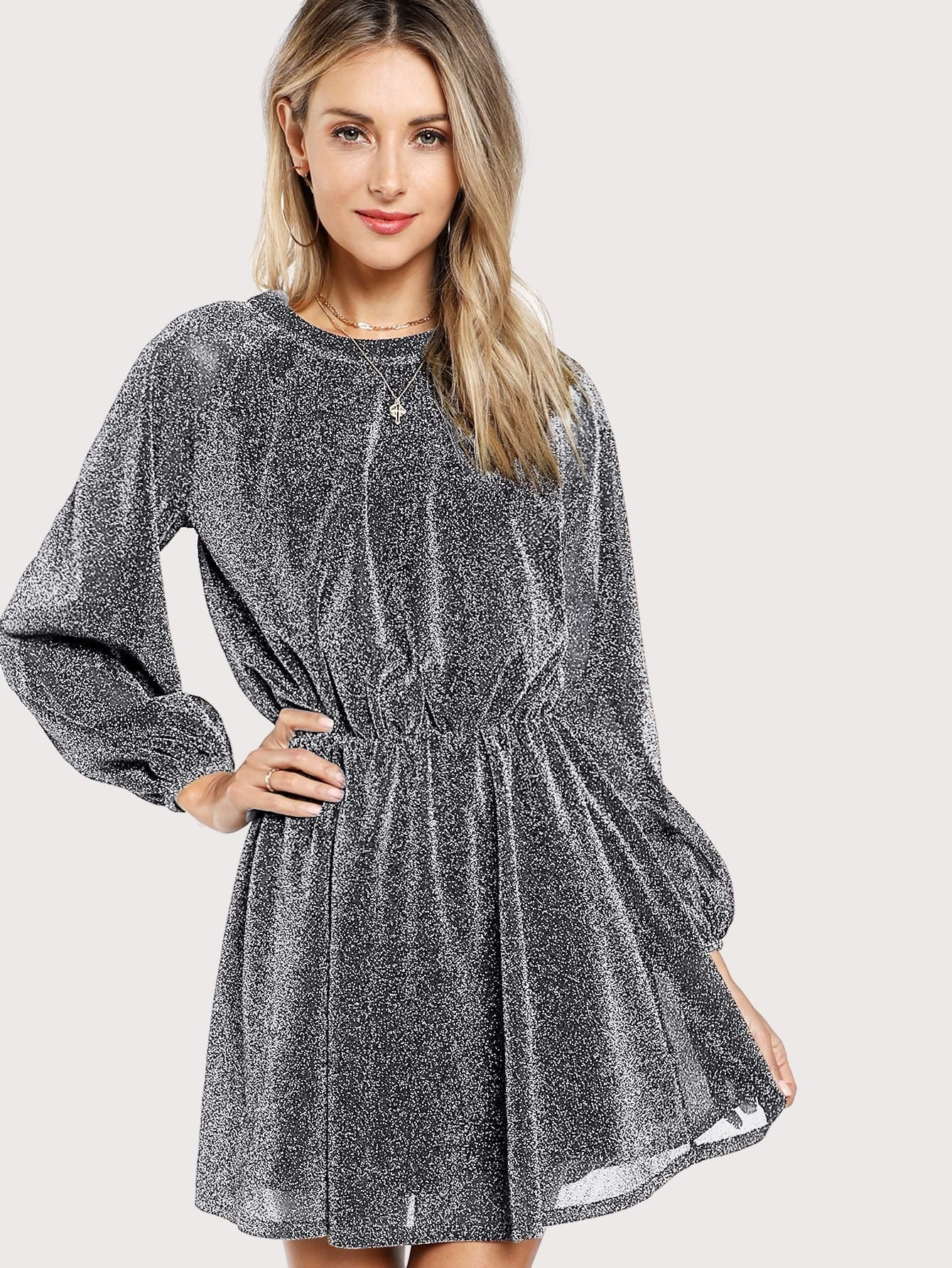 Bishop Sleeve Glitter Dress aiveesy 30g
