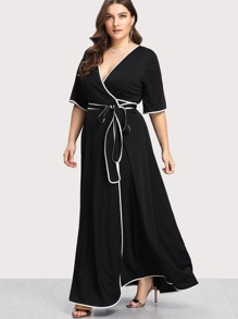 Contrast Binding Self Belted Wrap Dress