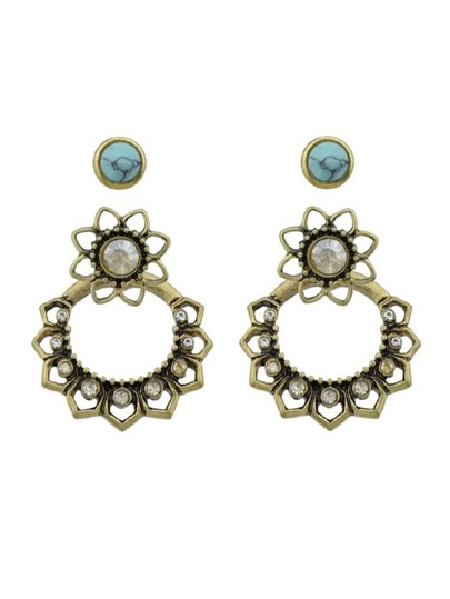 Rhinestone And Blue Stone Flower Stud Earrings