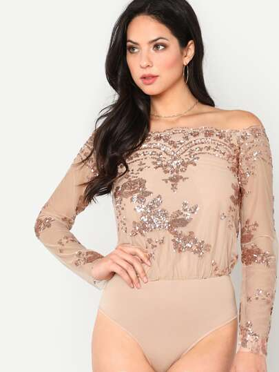 Off Shoulder Sequin Mesh Bodysuit