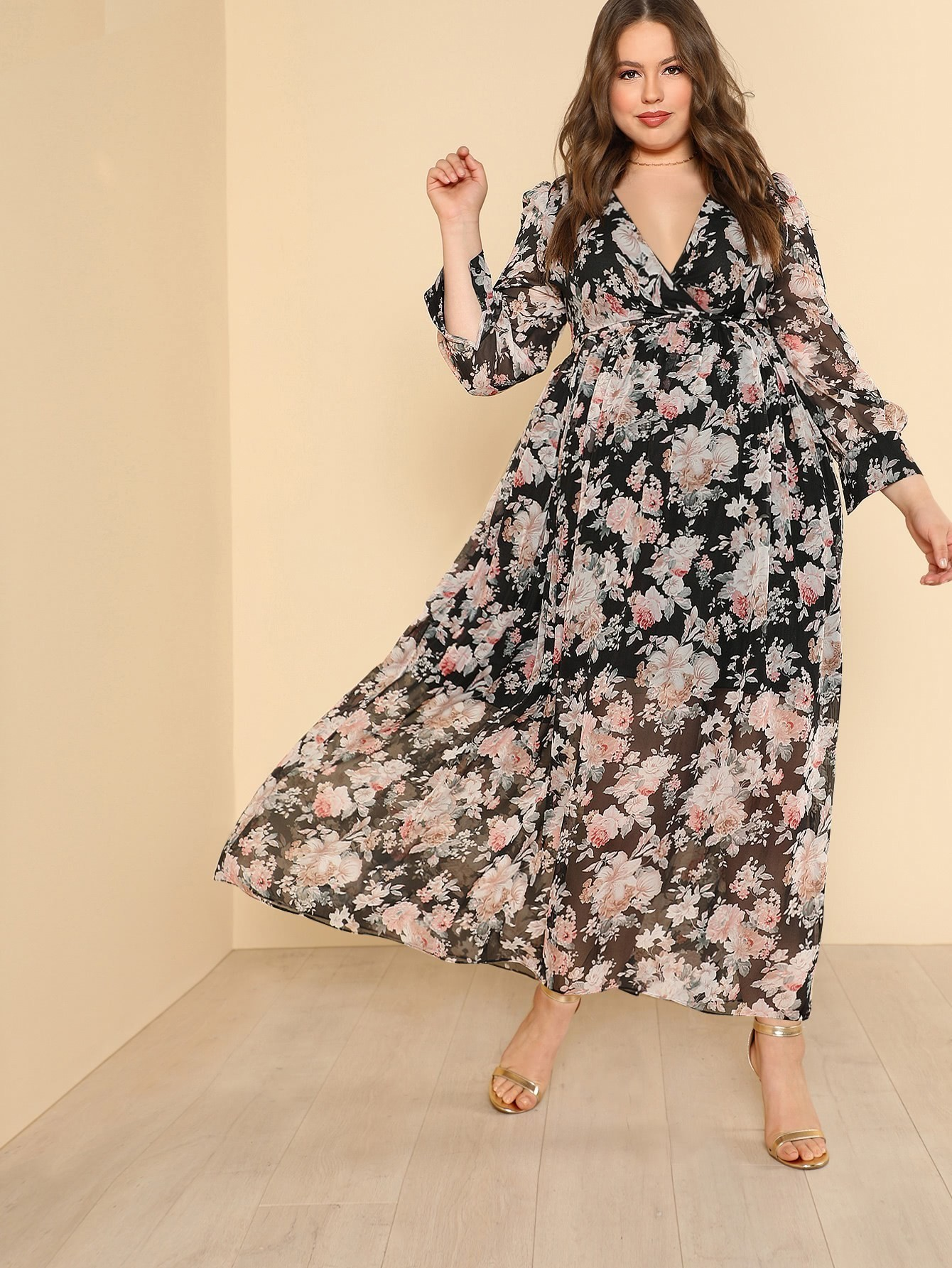 Self Belted Floral Maxi Dress ink print belted maxi dress