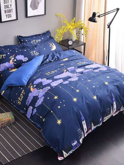 2.2m 4Pcs Cloud&Star Bed Sheet Set