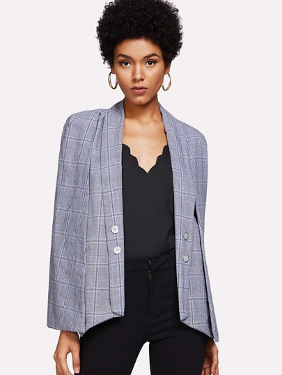 Button Detail Checked Batwing Blazer