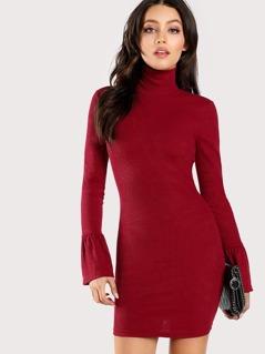 High Neck Bell Cuff Rib Knit Dress