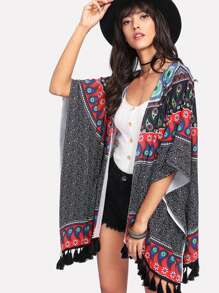 Paisley Print Tassel Hem Kimono