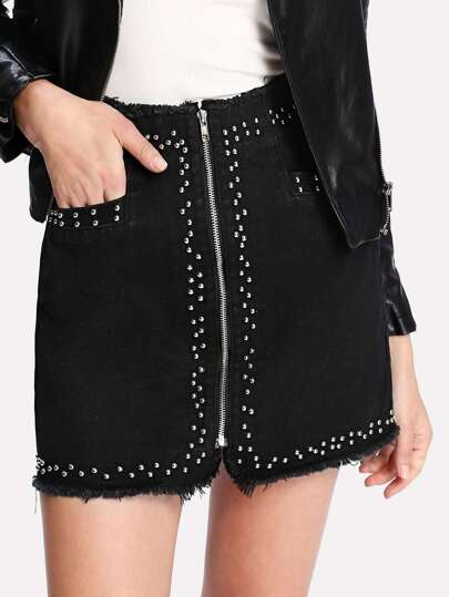Zip Up Raw Edge Studded Denim Skirt