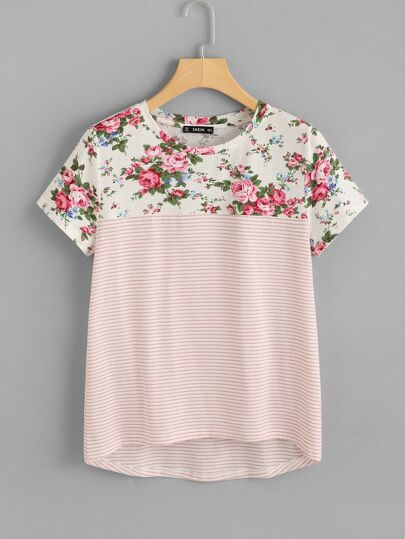 Floral And Striped Print Tee