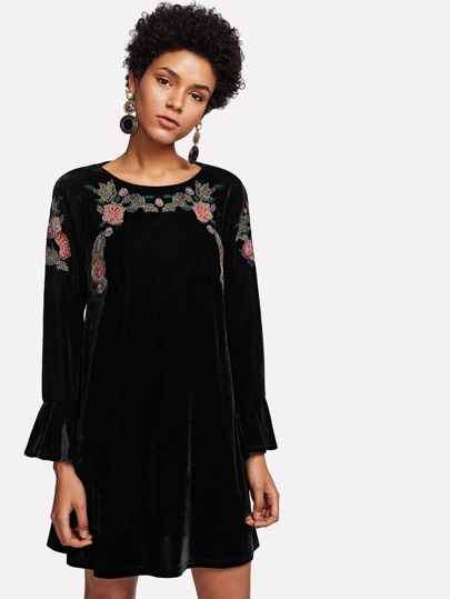 Flounce Sleeve Botanical Embroidered Velvet Dress