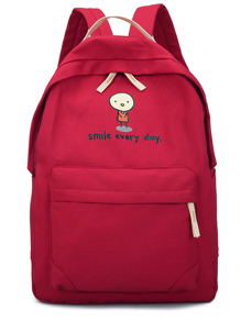 Cartoon & Slogan Print Canvas Backpack