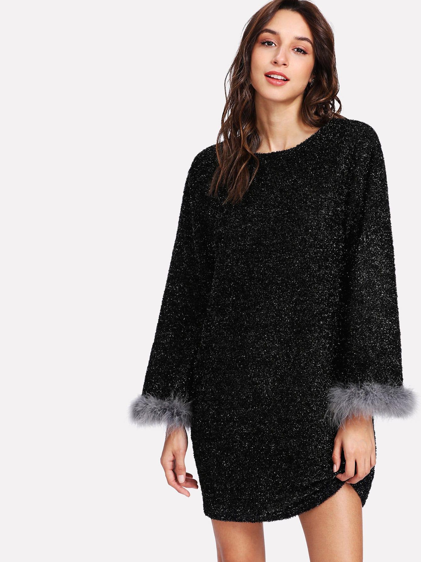 Contrast Faux Fur Cuff Dress contrast faux fur cuff pullover