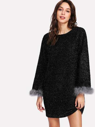 Contrast Faux Fur Cuff Dress