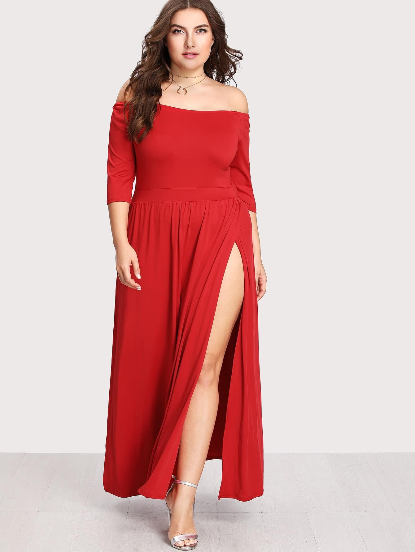 Plus Off Shoulder Pleated Split Dress