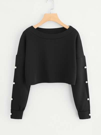 Drop Shoulder Pearl Beaded Crop Sweatshirt