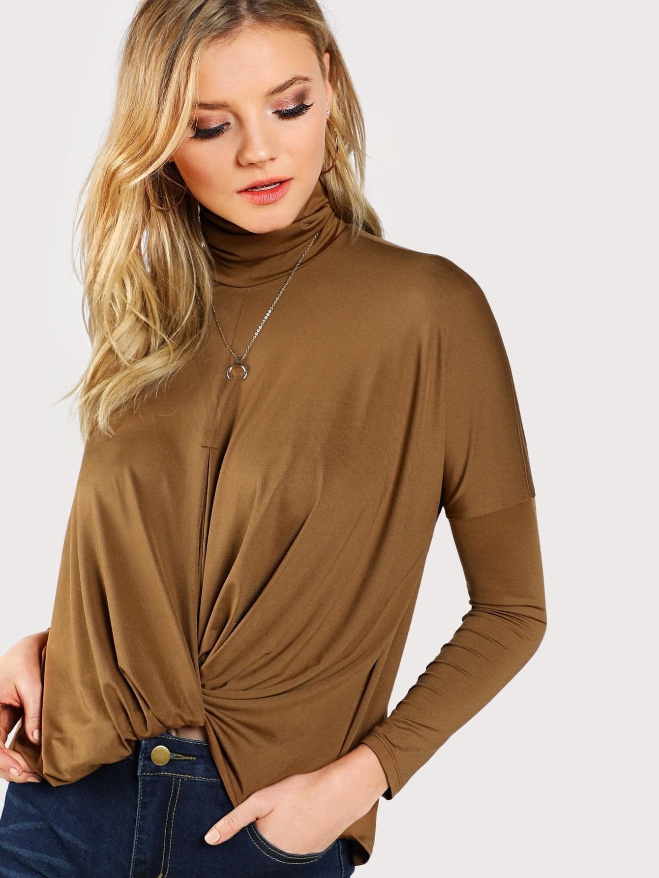 Drop Shoulder Draped Front Tee two tone drop shoulder sweatshirt