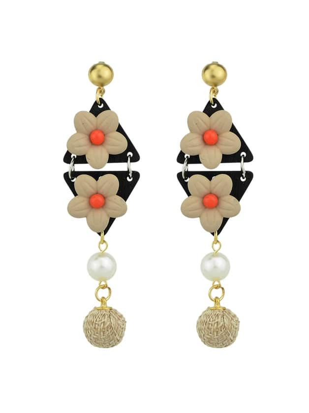 Beige Simulated-Pearl Colorful Flower Dangle Earrings