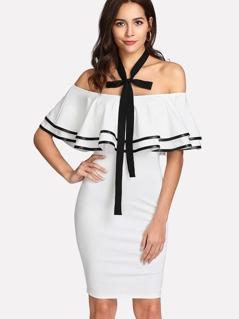 Contrast Binding Flounce Halter Dress