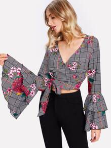 Layered Trumpet Sleeve Floral Wrap Top