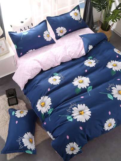 2.2m 4Pcs Blumen Muster Bettlaken Set
