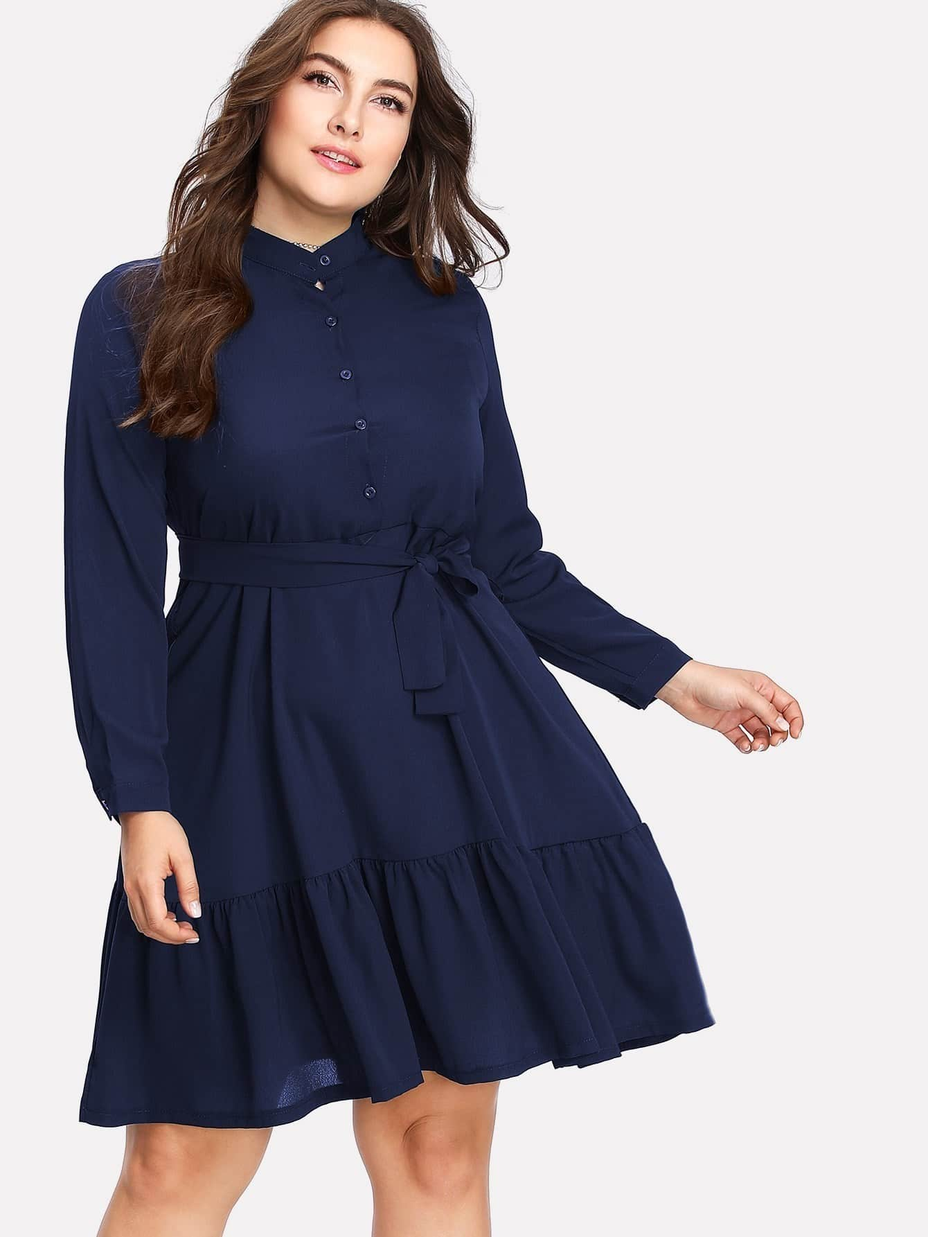 Plus Button Front Ruffle Hem Tie Waist Shirt Dress